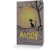 haunting Halloween black kitty cat being Aloof by spiral art tia knight Greeting Card