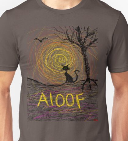 haunting Halloween black kitty cat being Aloof by spiral art tia knight Unisex T-Shirt