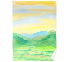 Hand-Painted Watercolor Green Rice Paddies Landscape Poster