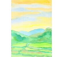 Hand-Painted Watercolor Green Rice Paddies Landscape Photographic Print