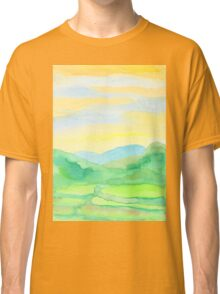 Hand-Painted Watercolor Green Rice Paddies Landscape Classic T-Shirt