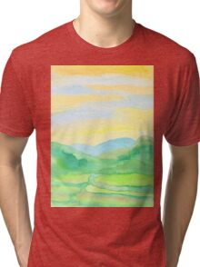 Hand-Painted Watercolor Green Rice Paddies Landscape Tri-blend T-Shirt