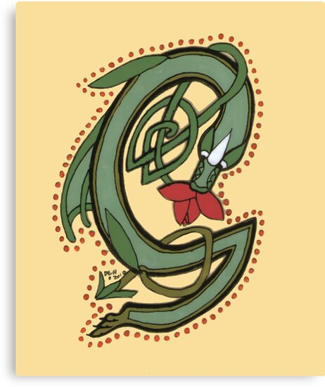 Celtic Oscar letter G (New Manuscript version) by Donna Huntriss