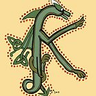 Celtic Oscar letter K (New Manuscript version) by Donna Huntriss