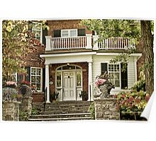 Red Brick House in Autumn Poster