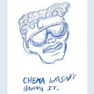 Chema Wasn't Having It blue sunglasses illustration by Vicki Bower by Vicki Noble
