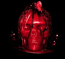 Red Halloween Skull Candle by BamaBruce69