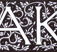 William Morris Inspired A K Monogram by Donna Huntriss