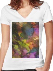 Abstract 1043 Women's Fitted V-Neck T-Shirt