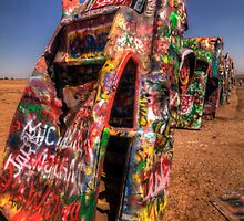 A Bright Afternoon at Cadillac Ranch by Terence Russell