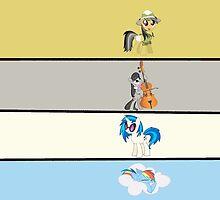 Rainbow Dash, Daring Do, Octavia, DJ P0N-3 by DerpyDash101