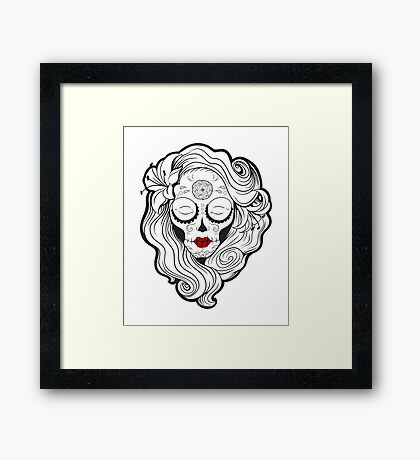 Vecta Skull Girl 2 Framed Print