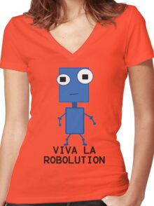 Viva La Robolution Women's Fitted V-Neck T-Shirt