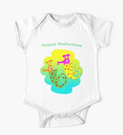 Happy Seahorses One Piece - Short Sleeve