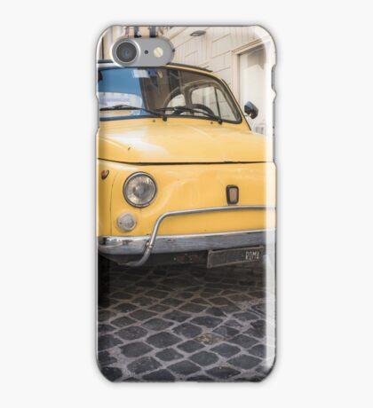 Vintage Yellow Fiat 500 in Rome iPhone Case/Skin