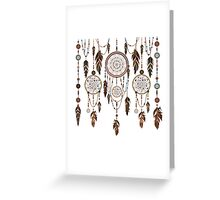 Native American Dreamcatcher Feathers Pattern Greeting Card