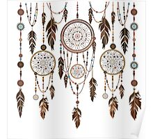 Native American Dreamcatcher Feathers Pattern Poster