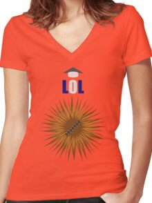 Laugh it up Fuzzball! Women's Fitted V-Neck T-Shirt