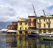 Malcesine Harbour on Lake Garda. by Mike Lester