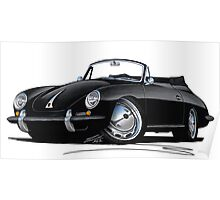 Porsche 356 C Cabriolet Black Poster