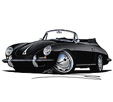 Porsche 356 C Cabriolet Black Photographic Print