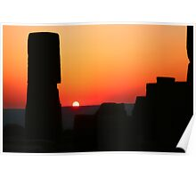 Sunset At The Athena Temple Poster