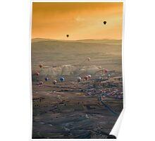 Hot-air balloons flying over Cappadocia Poster