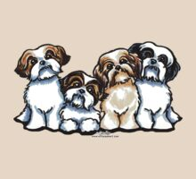 Four Shih Tzu by offleashart