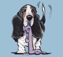 Black/Tan Basset Hound Lets Play Kids Tee