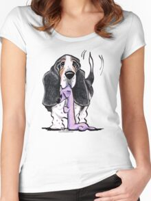 Black/Tan Basset Hound Lets Play Women's Fitted Scoop T-Shirt