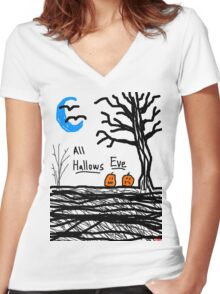 halloween jack o lantern all hallows eve Women's Fitted V-Neck T-Shirt