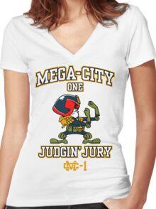 Mega-City One Judgin' Jury Women's Fitted V-Neck T-Shirt