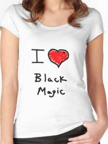 i love halloween black magic  Women's Fitted Scoop T-Shirt
