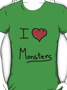 i love halloween monsters T-Shirt
