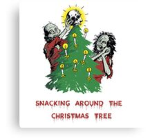 Snacking around the christmas tree Canvas Print