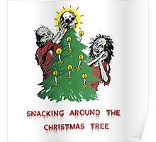 Snacking around the christmas tree Poster