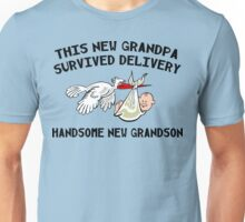 """New Grandpa """"This New Grandpa Survived Delivery New Grandson"""" Unisex T-Shirt"""