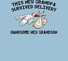 "New Grandpa ""This New Grandpa Survived Delivery New Grandson"" Unisex T-Shirt"