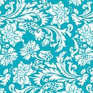 Elegant Vintage Floral Damasks White And Blue-Green by artonwear