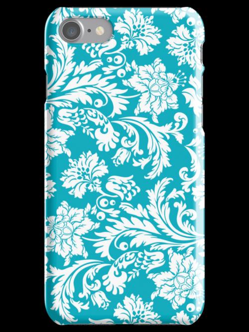 Elegant Vintage Floral Damasks White And Blue-Green by artonwear