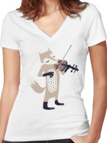 FOXY VIOLINIST Women's Fitted V-Neck T-Shirt