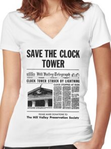 BTTF SAVE THE CLOCK TOWER Women's Fitted V-Neck T-Shirt
