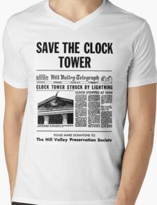 BTTF SAVE THE CLOCK TOWER Mens V-Neck T-Shirt
