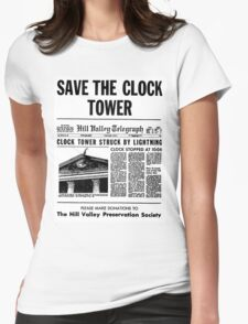 BTTF SAVE THE CLOCK TOWER Womens Fitted T-Shirt