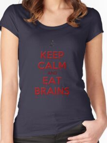 Keep Calm and Eat Brains Women's Fitted Scoop T-Shirt