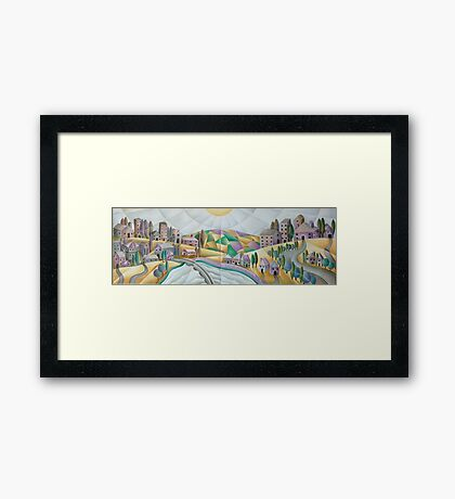 Once  upon a time there was a village on a hill Framed Print