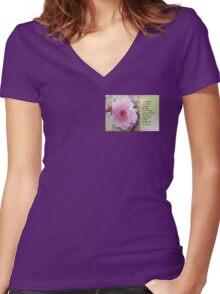 Serenity Prayer Plum Blossom Women's Fitted V-Neck T-Shirt