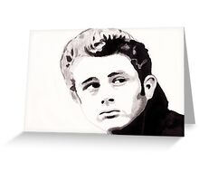 James Dean - Portrait in India Ink by Guy Hoffman Greeting Card