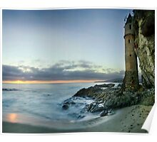 Victoria Beach Lighthouse Sunset Poster