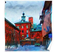 Red buildings in Toronto Distillery District Poster